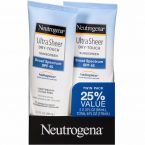 Neutrogena Ultra Sheer Dry-Touch Sunscreen; SPF 45 protects against UVA and UVB rays; Helioplex Technology; Dry-Touch Makes it Non-greasy and Feel Invisible on Skin