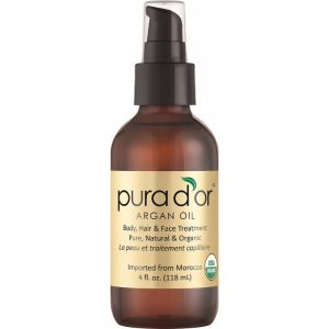 PURA D'OR Moroccan Argan Oil: All in One Skin and Hair Treatment in a Bottle; 100% Pure, USDA Organic; Use for Face, Hair and Nails