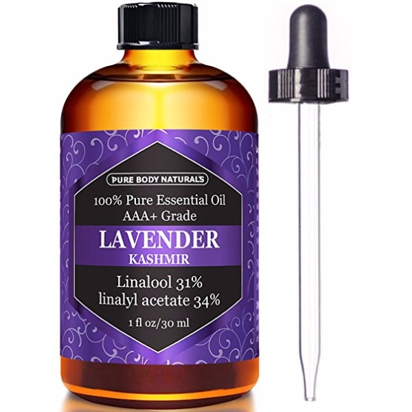 Pure Body Naturals Lavender Essential Oils 100% Pure Lavender; Relieves Anxiety, Relaxes, Promotes Better Sleep; Good for Aromatherapy
