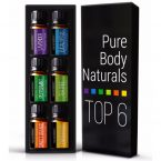 Pure Body Naturals Aromatherapy Top 6 Essential Sampler Oils; 100% All-Natural Oils; Eucalyptus, Lavender, Lemon Grass, Peppermint, Sweet Orange and Tea Tree
