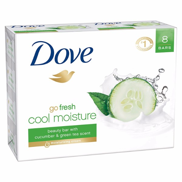 Dove Go fresh Beauty Bar Cool Moisture; Soothing Cucumber & Green Tea Scent; Mild Cleanser with Natural Nutrients; ¼ Moisturizing Cream