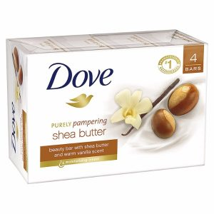 Dove Purely Pampering Beauty Bar; Infused with Moisturizing Shea Butter; Pack of Four 4 oz Bar; Mild Cleanser to Protect Skin from Drying; Leaves Softer and Smoother Skin