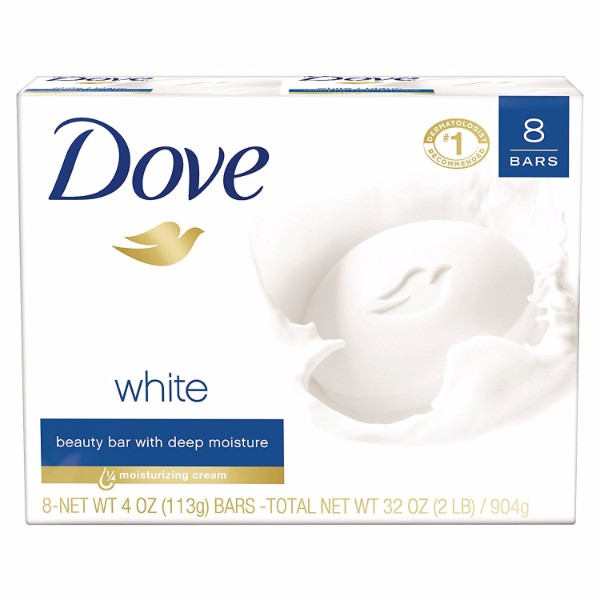 Dove Beauty Bar 8 White Bar; With ¼ Moisturizing Cream; Top Product Recommended by Dermatologists; Mild Formula for Gentle Cleansing