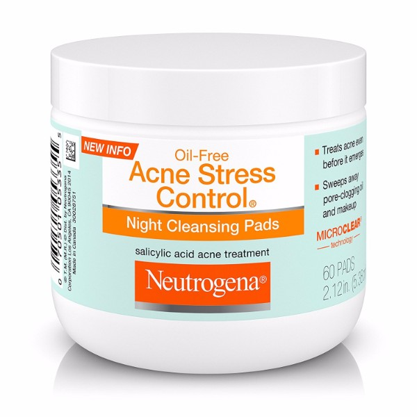 Neutrogena Acne Stress Control Night Cleansing Pads 60; Gentle Cleansing for Night Routine; Treats and Protects Skin from Acne
