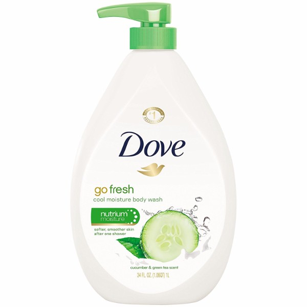 Dove Go Fresh Body Wash Cucumber and Green Tea Pump; Revitalizes the Senses; Leaves the Skin Smoother and Softer After Wash