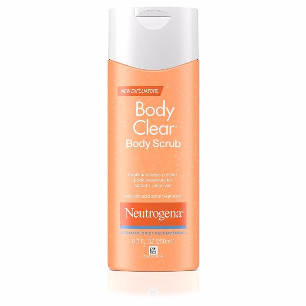 Neutrogena Body Clear Scrub; Protects Skin from Acne; With Salicylic Acid for Preventing Breakouts; Oil-Free Formula