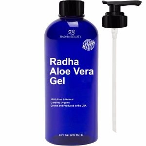 Radha Beauty Organic Aloe Vera Gel for Face, Body & Hair; For Soft and Moisturized Skin; Leaves Hair Silky and Manageable