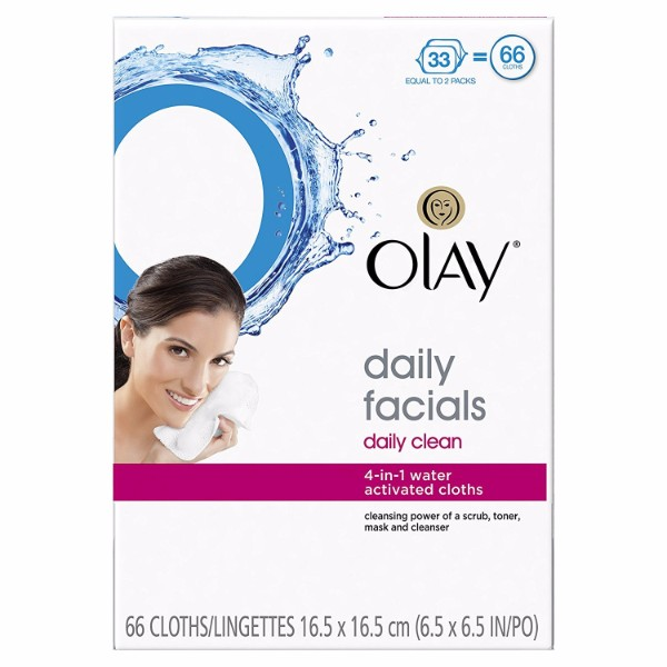 Olay Daily Clean 4-in-1 Water Activated Cleansing Cloths; Soap-Free Formula for Gentle Cleansing; Smooth Textured Wipes