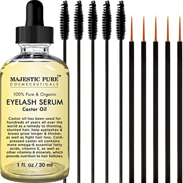 Majestic Pure Castor Oil for Eyelashes Growth Serum; With Free Mascara Brush and Applicator; For Natural Growth of Brows and Lashes