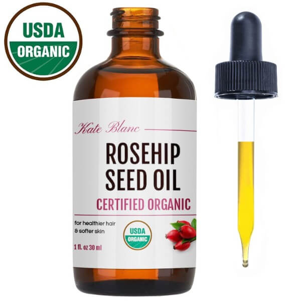 Kate Blanc Cosmetics Organic Rosehip Seed Oil; Fades Blemishes and Signs of Skin Aging; Soothes Scalp Conditions