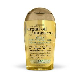 OGX Renewing Moroccan Argan Oil; Treatment Serum for Damaged Hair; Primes Dry Hair for Styling