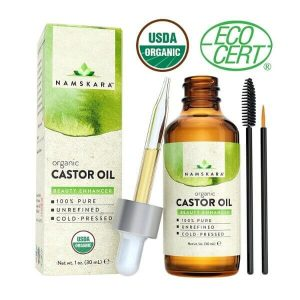 Namskara Organic Castor Oil USDA Certified Organic; For Thick Brows and Lashes; Nourishes Skin, Hair, and Nails