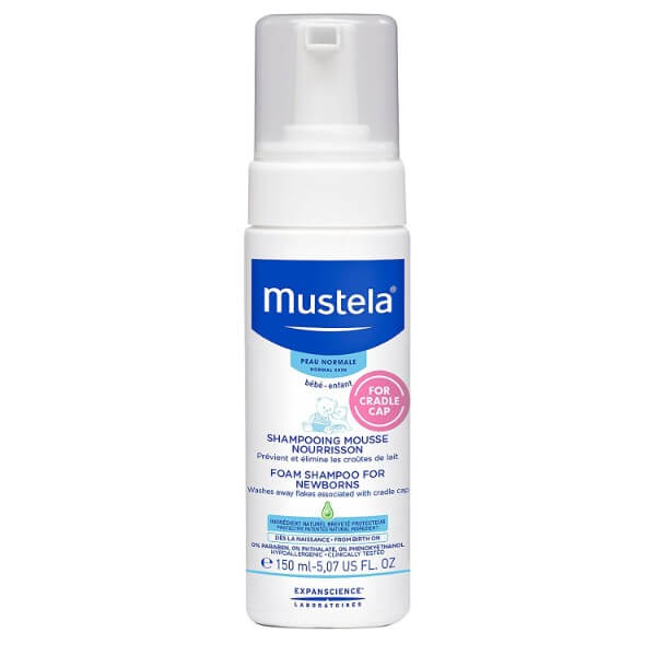 Mustela Foam Shampoo for Newborns; Light and Gentle Formula for Sensitive Scalp; Treats Cradle Cap