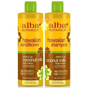 Alba Botanica Drink It Up Coconut Milk; Moisturizing Shampoo and Conditioner; Prevents Dryness and Damage